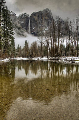 Wintery Upper And Lower Yosemite Falls  Art Print by Connie Cooper-Edwards