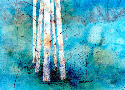 Painting - Wintry Aspen by Becky Chappell