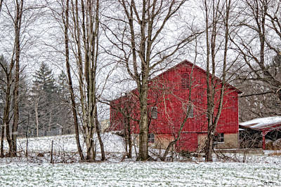 Photograph - Wintry Barn by Skip Tribby