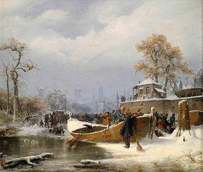 Andreas Achenbach Painting - Wintry Boat Dock by Attributed to Andreas Achenbach