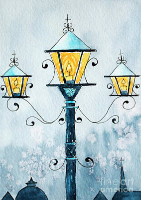 Painting - Wintry Lamp Post by Rebecca Davis