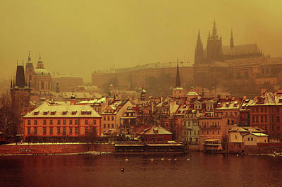 Photograph - Wintry Prague. Vintage. March Snow by Jenny Rainbow