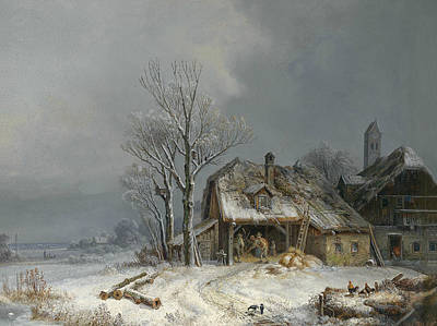 Painting - Wintry Village by Heinrich Burkel