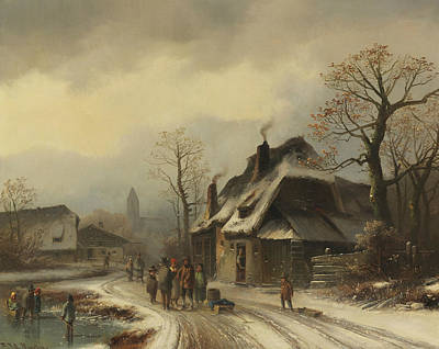 Painting - Wintry Village View by Anton Doll