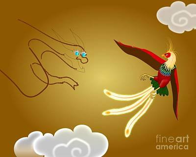 Digital Art - Wip Chinese Dragon And Phoenix by John Wills