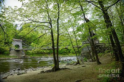 Photograph - Wire Bridge Over Carrabassett River  by Alana Ranney