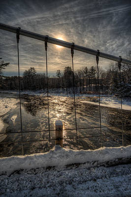 Digital Art - Wire Bridge Sunrise by Patrick Groleau