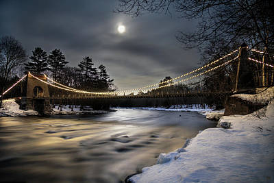 Photograph - Wire Bridge Under A Full Moon by John Meader