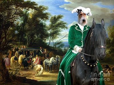Painting - Wire Fox Terrier Art - Philippe Francois D'arenberg Meeting Troops by Sandra Sij