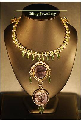 Cubic Zirconia Jewelry - Wire Wrapped Abacus Pearls Peridot Chips And Purple Glass Necklace by Janine Antulov