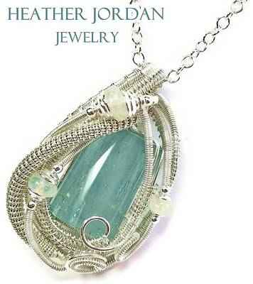 Wire-wrapped Aquamarine Crystal Pendant In Sterling Silver With Ethiopian Opals Aqpss2 Original by Heather Jordan