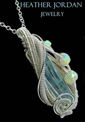 Wire-wrapped Aquamarine Crystal Pendant In Sterling Silver With Ethiopian Opals - Aqpss5 Original