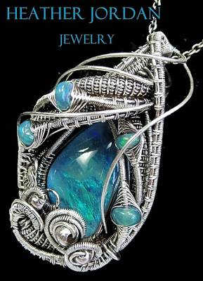 Wire-wrapped Australian Opal Pendant In Antiqued Sterling Silver With Ethiopian Opals Original