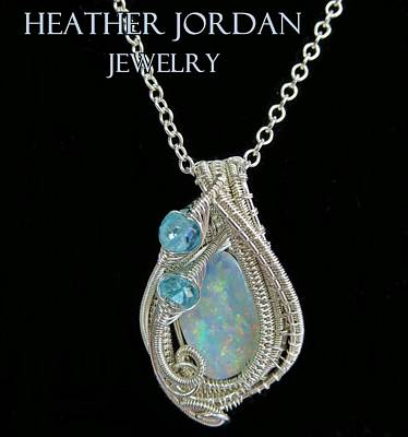 Sterling Silver Jewelry - Wire-wrapped Australian Opal Pendant In Sterling Silver With Blue Apatite Auopss2 by Heather Jordan