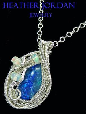 Wire-wrapped Australian Opal Pendant In Sterling Silver With Ethiopian Opals Abopss4 Original by Heather Jordan