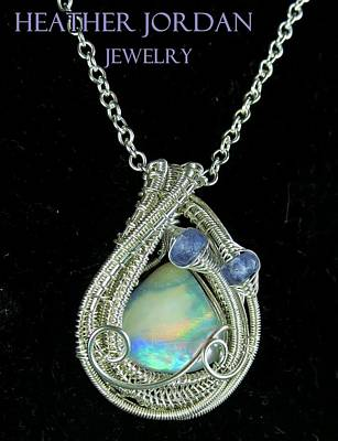 Wire-wrapped Australian Opal Pendant In Sterling Silver With Tanzanite Auopss1 Original by Heather Jordan