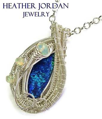 Sterling Silver Jewelry - Wire-wrapped Coober Pedy Australian Opal Pendant In Sterling Silver With Ethiopian Opals Abopss by Heather Jordan