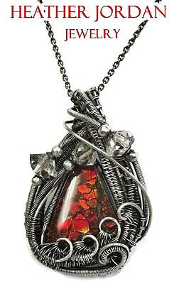Ammolite Jewelry - Wire-wrapped Dragon Skin Ammolite Pendant In Antiqued Sterling Silver With Herkimer Diamonds by Heather Jordan