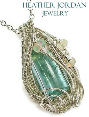 Wire-wrapped Natural Aquamarine Crystal Pendant In Sterling Silver With Ethiopian Opals Aqpss1 Original by Heather Jordan