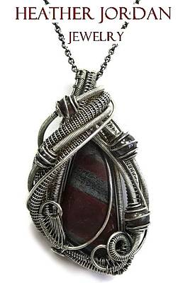 Wire-wrapped Red Tiger Iron Pendant In Antiqued Sterling Silver With Hematite And Brecciated Jasper Original