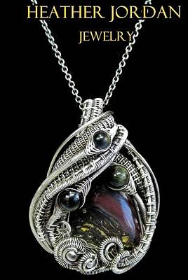 Wire-wrapped Tiger Iron Banded Iron Formation Pendant In Antiqued Sterling Silver W Blue Tiger Eye Original