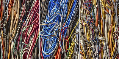 Photograph - Wired Triptych by Denise Bush