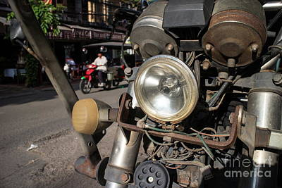 Photograph - Wires And Headlamp Of Stripped Down Motorcycle On The Street Of An Asian City by Jason Rosette