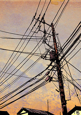 Landscape Drawing - Wires Up by Giuseppe Cristiano