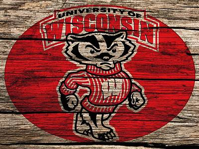 The Big Man Digital Art - Wisconsin Badgers Barn Door by Dan Sproul