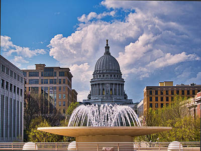 Photograph - Wisconsin  Capitol And Fountain  by Steven Ralser