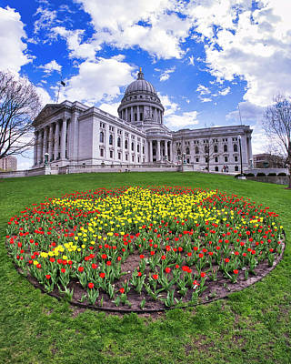 Photograph - Wisconsin Capitol And Tulips 2 by Steven Ralser