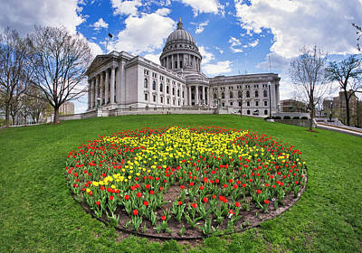 Photograph - Wisconsin Capitol And Tulips by Steven Ralser