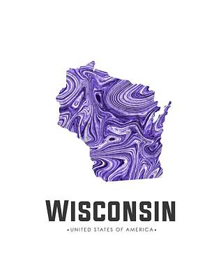 Mixed Media - Wisconsin Map Art Abstract In Violet by Studio Grafiikka