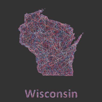 Wisconsin Map Digital Art - Wisconsin Map by David Zydd