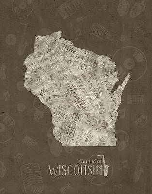 Michigan State Digital Art - Wisconsin Map Music Notes 3 by Bekim Art