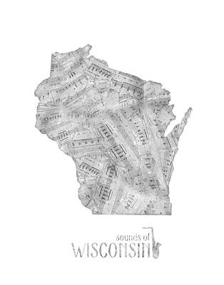 Jazz Royalty-Free and Rights-Managed Images - Wisconsin Map Music Notes by Bekim Art