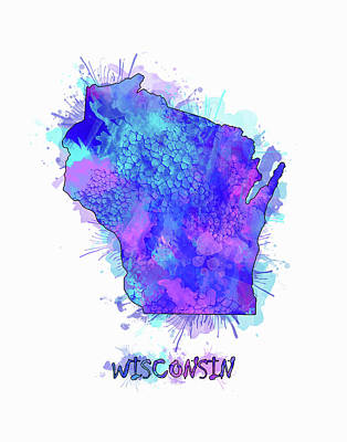 Lake Michigan Digital Art - Wisconsin Map Watercolor 2 by Bekim Art