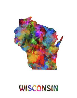 Michigan State Wall Art - Digital Art - Wisconsin Map Watercolor  by Bekim Art