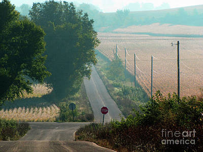 Photograph - Wisconsin Rolling Hill Farmland Stop Sign by Ron Tackett