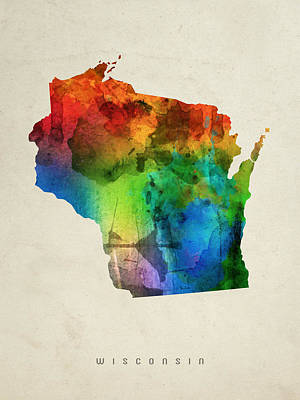 Wisconsin State Map 03 Art Print by Aged Pixel