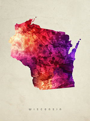 Wisconsin State Map 05 Art Print by Aged Pixel