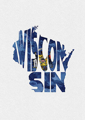 Digital Art - Wisconsin Typographic Map Flag by Inspirowl Design