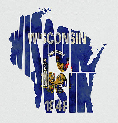 Wisconsin Typography Map Flag Art Print by Kevin O'Hare