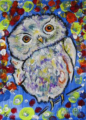 Painting - Wisdom And Whimsy Colorful Owl Painting by Ella Kaye Dickey