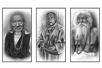 Triptych Photograph - Wisdom - Such A Long Journey 2 Bw by Steve Harrington