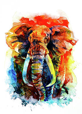 Painting - Wise Elephant by Zaira Dzhaubaeva