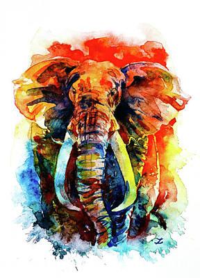 Painting - Wise Elephant by Zaira Dzhaubaeva
