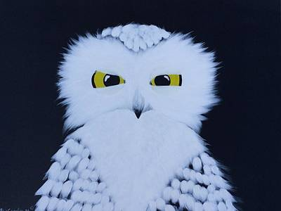 Black And White Owl Painting - Wise Guy by Matthew Carolin