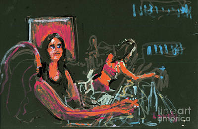 Painting - Wise Guys Bar Girls  by Candace Lovely