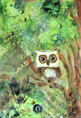 Nursery Rhyme Mixed Media - Wise Old Owl by Jennifer Kelly